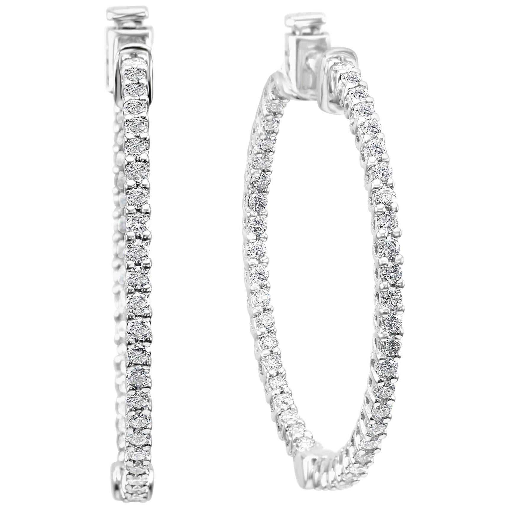 2.00 Carat Total Weight Diamond White Gold Inside Out Hoop Dangle Earrings