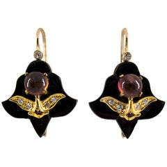 2.00 Carat Tourmaline White Diamond Ruby Onyx Yellow Gold Lever-Back Earrings