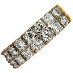 2.00 Carat Two-Row Round Diamond Band Ring H/VS 14 Karat