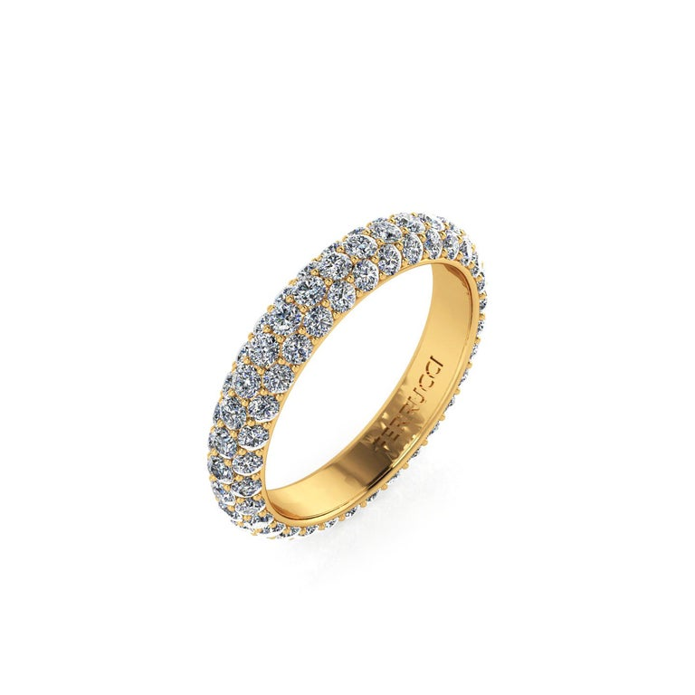 FERRUCCI diamond pave' band, a wrap of sparkling white diamonds, G color, VS/SI+ clarity, for an approximate total carat weight of 2.00 + carat, hand made in New York City with the best Italian craftsmanship, conceived in 18k yellow gold. Classic,