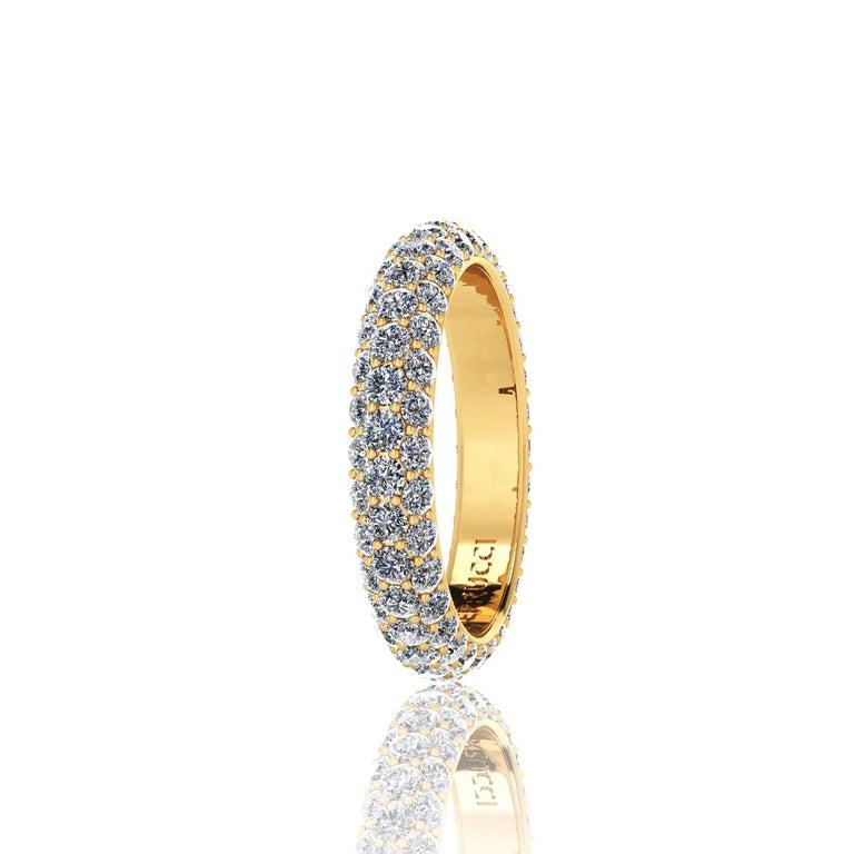Modern 2.00 Carat White Diamond Pave Ring in 18 Karat Yellow Gold For Sale