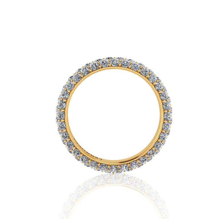 Round Cut 2.00 Carat White Diamond Pave Ring in 18 Karat Yellow Gold For Sale