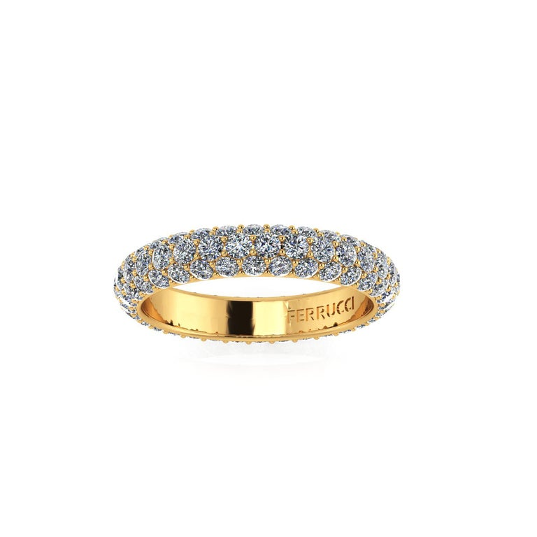 2.00 Carat White Diamond Pave Ring in 18 Karat Yellow Gold In New Condition For Sale In Lake Peekskill, NY