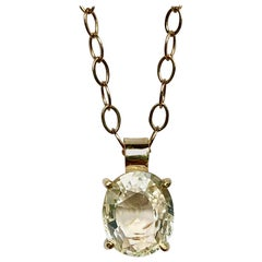 2.00 Carat Yellow Sapphire 18 Karat Gold Solitaire Pendant Necklace