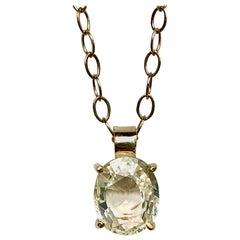 2.00 Carat Yellow Sapphire 18 Karat Gold Solitaire Pendant Necklace