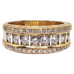 2.00 Carat Yellow White Gold Diamond Memory Ring