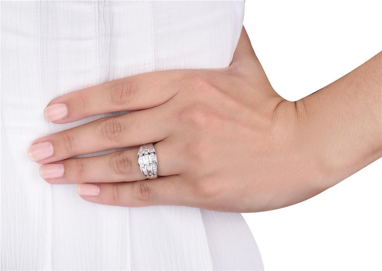 2.00 Carat 3-Row Channel Set Semi Eternity Diamond Band Ring In New Condition For Sale In New York, NY
