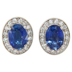 2.00 CTW Oval Sapphire and 0.32 CTW Diamond Halo Earrings in 14kt White Gold