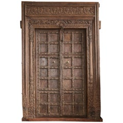 200 Years Old Highly Carved Metal Studded Grand Entry Door from a Mansion