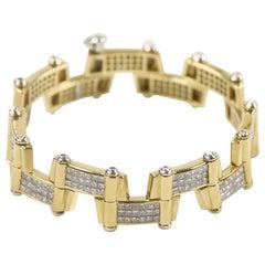 20.00 Carat 18 Karat Yellow Gold Diamond Handmade Link Bracelet