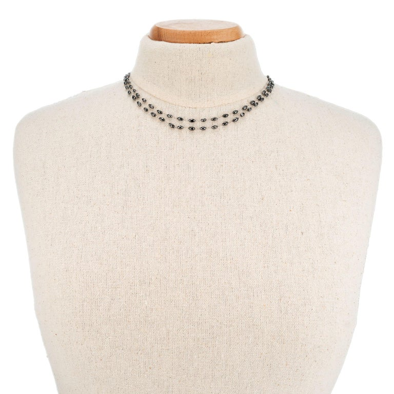 20.00 Carat Black Diamond Briolette White Gold Necklace In Excellent Condition For Sale In Stamford, CT