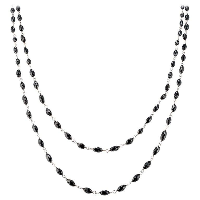 20.00 Carat Black Diamond Briolette White Gold Necklace For Sale
