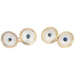 20.00 Carat Cabochon Sapphire Mother of Pearl Yellow Gold Cufflinks