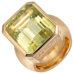 20.00 Carat Green Prasiolite Quartz Diamond Gold Cocktail Ring