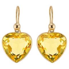 20.00 Carat Heart Shaped Citrine Yellow Gold Dangle Earrings