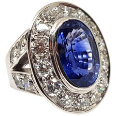 20.00 Carat IGI Certified White Gold Diamond Sri Lanka Sapphire Ring