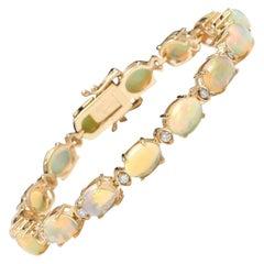 20.00 Carat Natural Ethiopian Opal & Diamond 14 Karat Solid Yellow Gold Bracelet