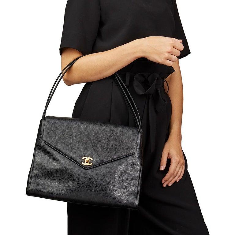 2000 Chanel Black Caviar Leather Classic Shoulder Bag For Sale 6