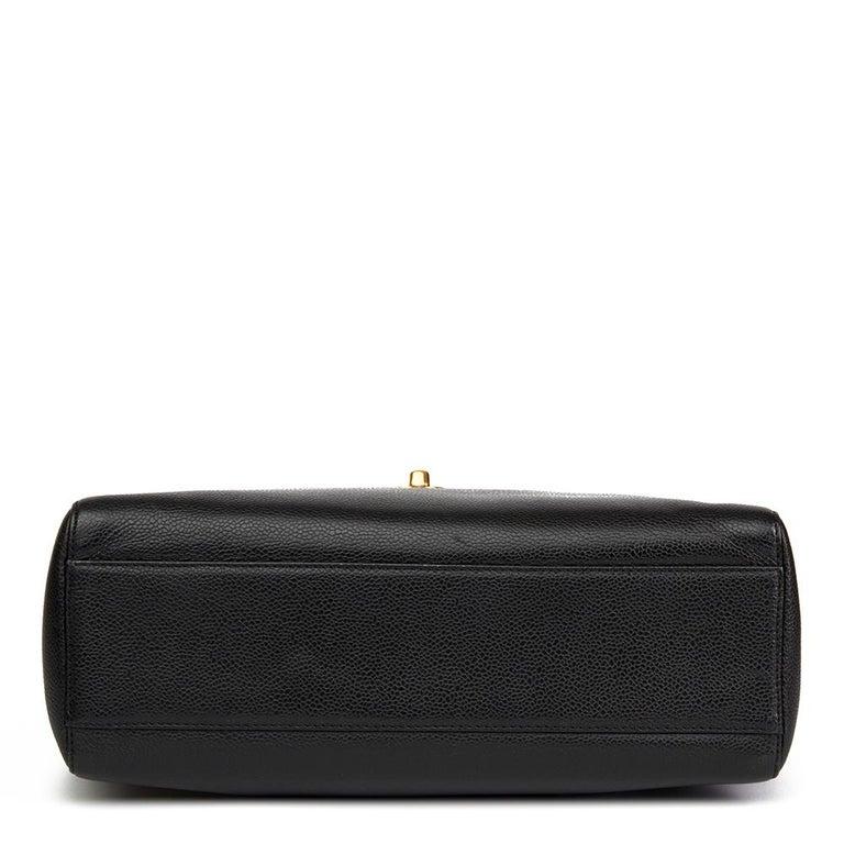 Women's 2000 Chanel Black Caviar Leather Classic Shoulder Bag For Sale