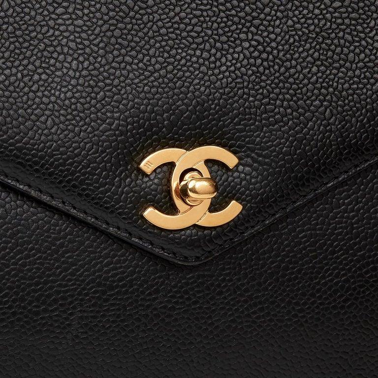 2000 Chanel Black Caviar Leather Classic Shoulder Bag For Sale 1
