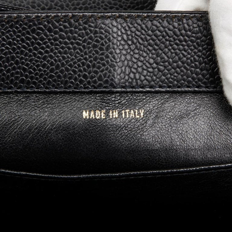 2000 Chanel Black Caviar Leather Classic Shoulder Bag For Sale 3