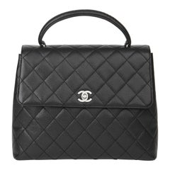 2000 Chanel Black Quilted Caviar Leather Classic Kelly