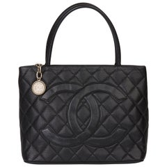 2000 Chanel Black Quilted Caviar Leather Vintage Medallion Tote