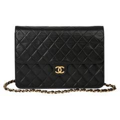 2000 Chanel Black Quilted Lambskin Vintage Medium Classic Single Flap Bag