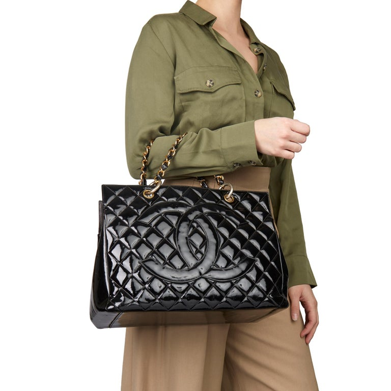 2000 Chanel Black Quilted Patent Leather Grand Shopping Tote For Sale 8