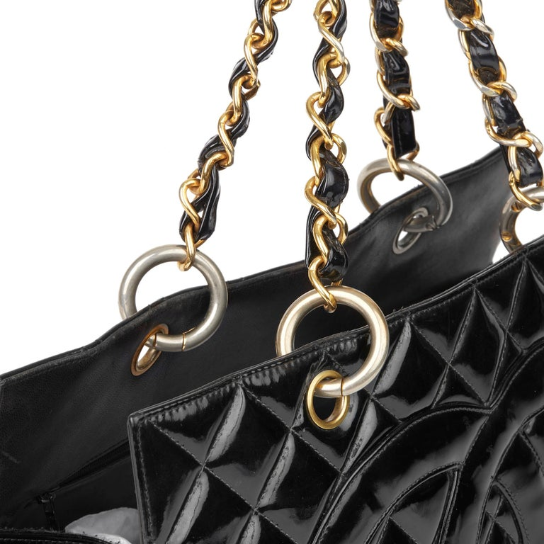 2000 Chanel Black Quilted Patent Leather Grand Shopping Tote For Sale 3