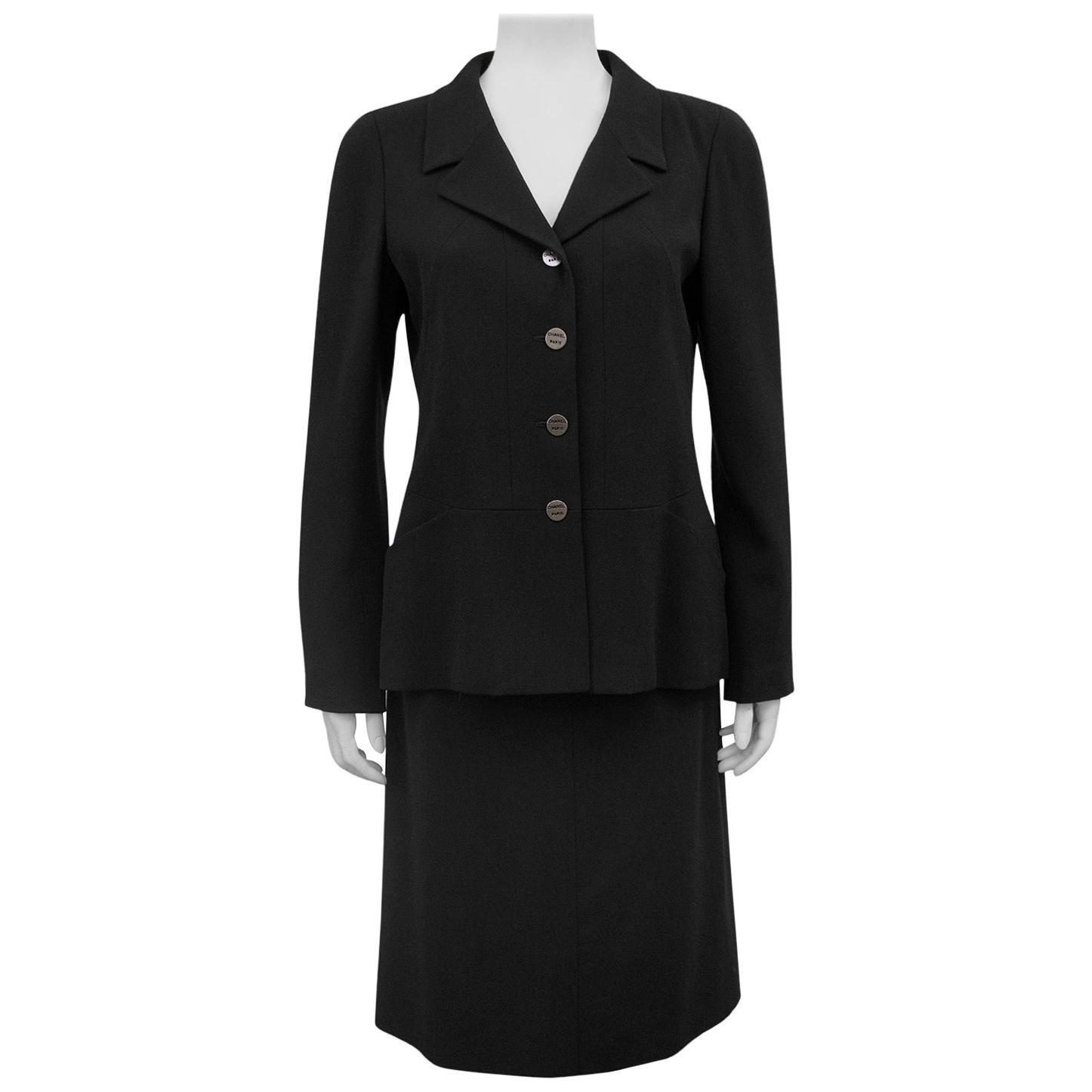 2000 Chanel Black Skirt Suit