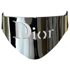 2000 Christian Dior by John Galliano Large Silver Logo Choker Necklace