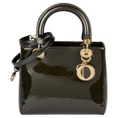 2000 Christian Dior Khaki Monogram Patent Leather Medium Lady Dior