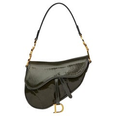 2000 Christian Dior Olive Green Monogram Patent Leather Mini Saddle Bag