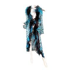 2000 F/W Cavalli Sheer Silk Zebra Feather Trim Robe