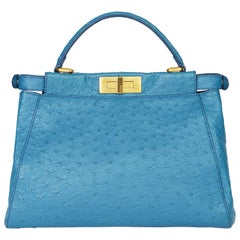 2000 Fendi Blue Ostrich Leather Small Peekaboo