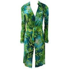 2000 Gianni Versace J. Lo Silk Jungle Dress