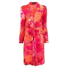 2000 Gianni Versace Pink Jungle Silk Dress Rare and Iconic