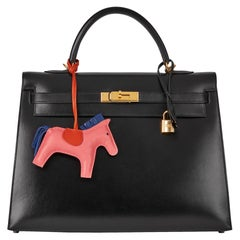 2000 Hermès Black Box Calf Leather Vintage Kelly 35cm Sellier