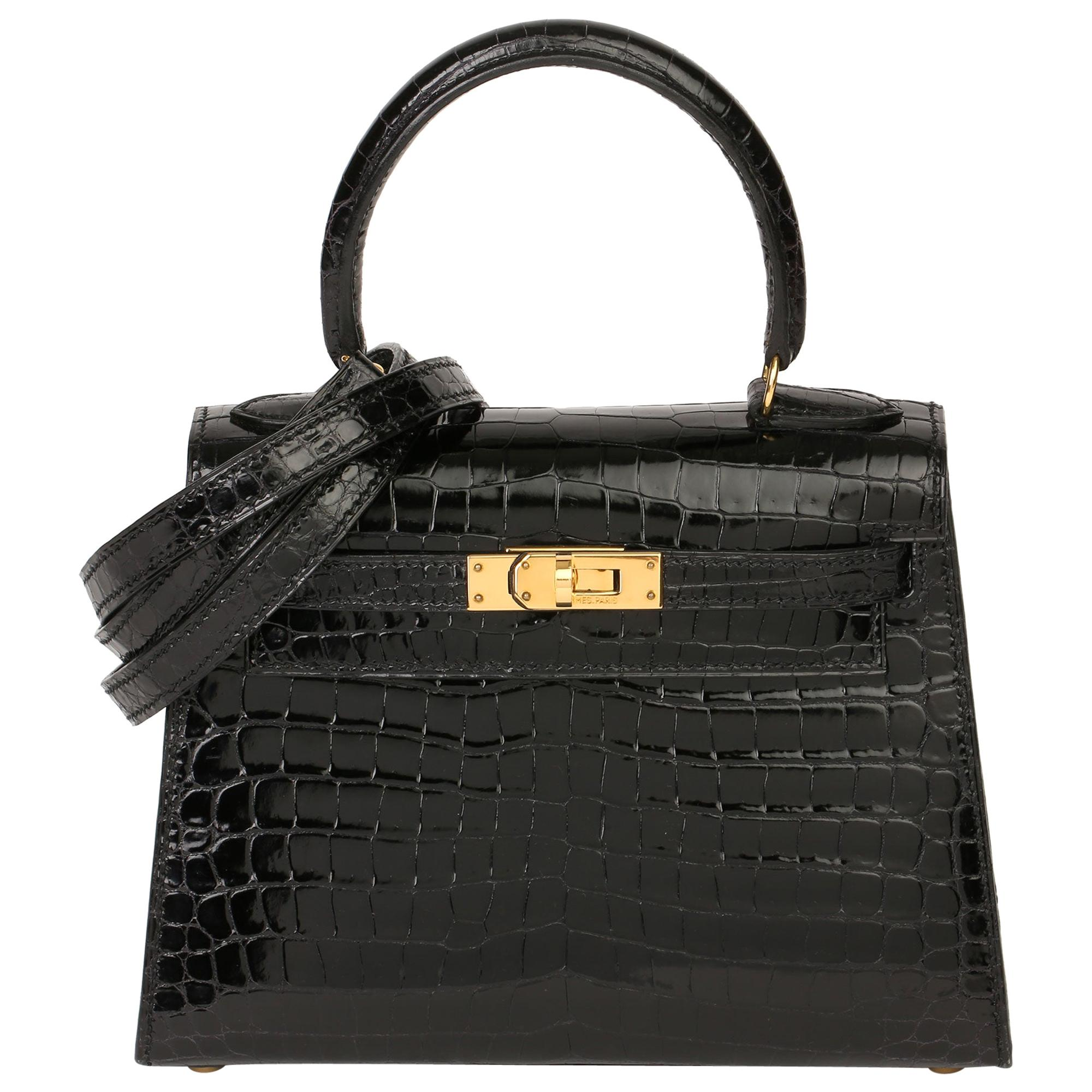 2000 Hermès Black Shiny Porosus Crocodile Leather Vintage Kelly 20cm Sellier