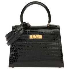 2000 Hermès Black Shiny Porosus Crocodile Leather Vintage Kelly 20cm Sellier
