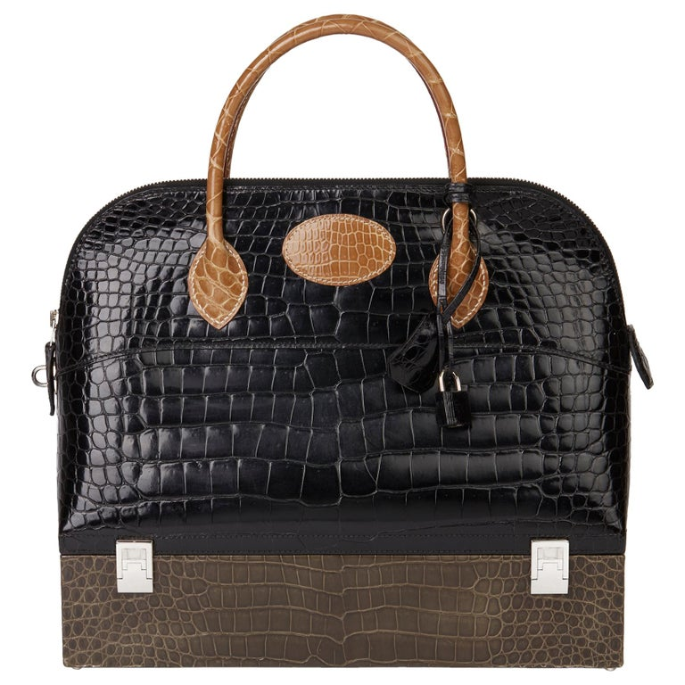 2000 Hermès Shiny Porosus Crocodile Vintage Special Order Macpherson For Sale