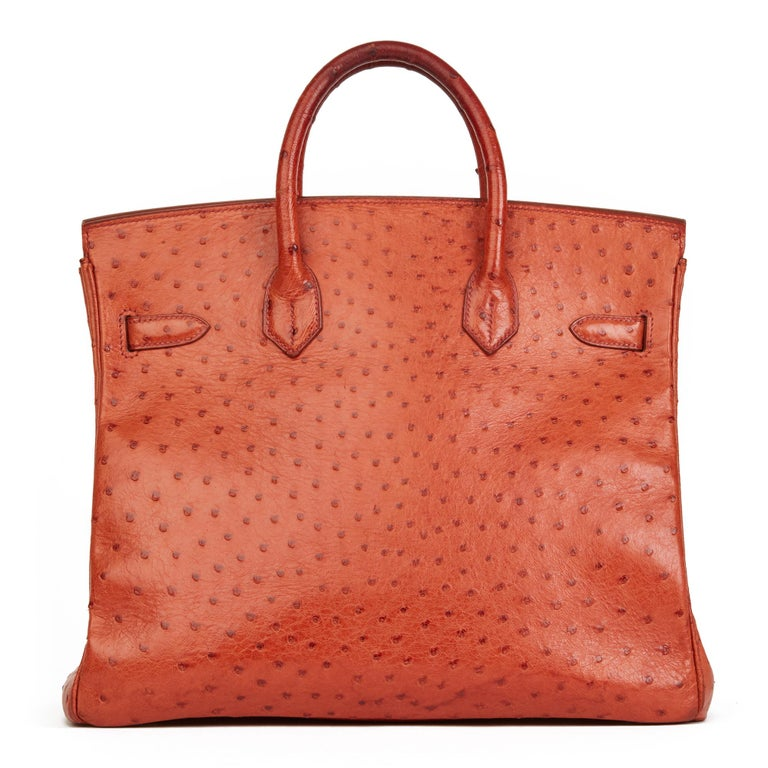 Orange 2000 Hermes Tangerine Ostrich Leather Birkin 32cm HAC For Sale
