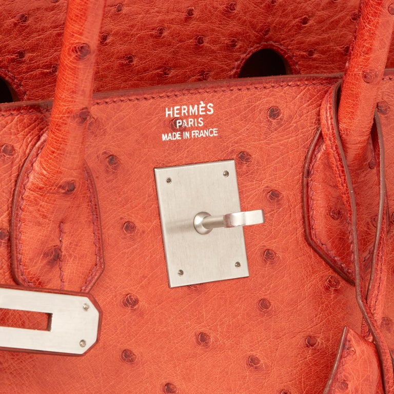 2000 Hermes Tangerine Ostrich Leather Birkin 32cm HAC For Sale 1
