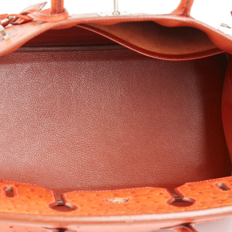 2000 Hermes Tangerine Ostrich Leather Birkin 32cm HAC For Sale 3