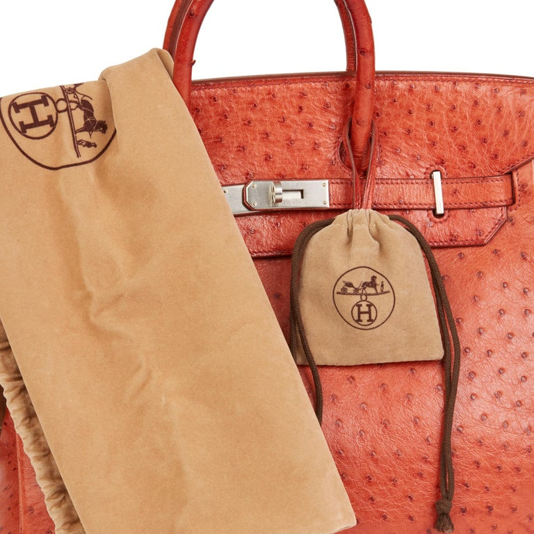 2000 Hermes Tangerine Ostrich Leather Birkin 32cm HAC For Sale 4