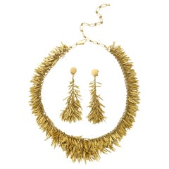 2000 H.Stern Feathers Collection Handcrafted Flexible Earring and Necklace Suite
