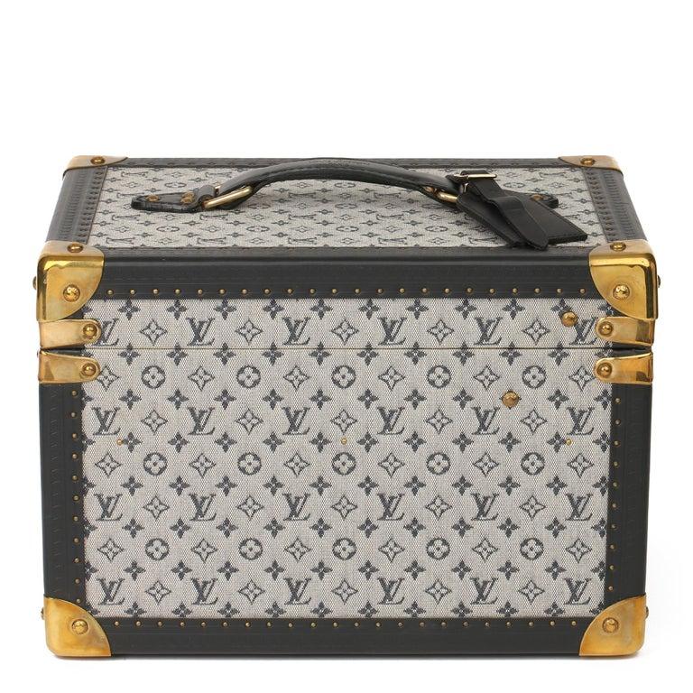 Beige 2000 Louis Vuitton Blue Mini Canvas & Navy Leather Special Order Boîte à Flacons For Sale