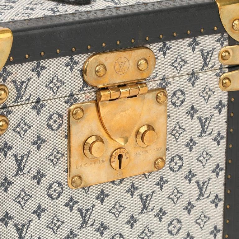 2000 Louis Vuitton Blue Mini Canvas & Navy Leather Special Order Boîte à Flacons For Sale 2