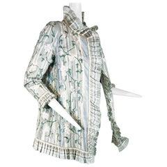 2000 Oscar de la Renta French Green Stripe Tissue Silk Floral Embroidered Jacket